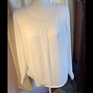Lauren Conrad Large White Sheer Blouse
